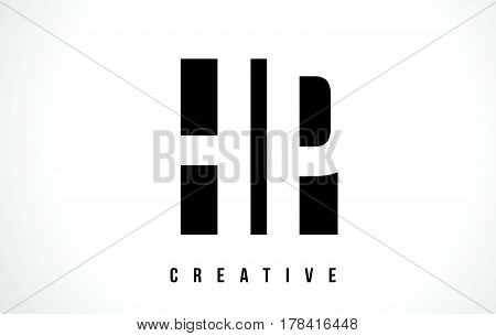 Hp H P White Letter Logo Design With Black Square.
