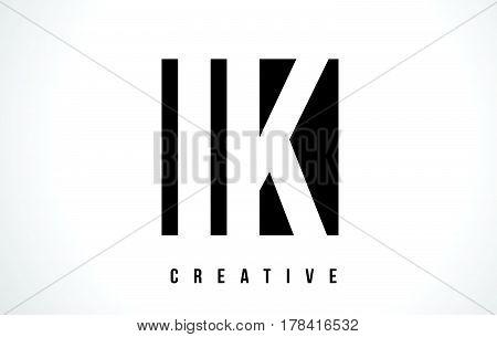Ik I K White Letter Logo Design With Black Square.