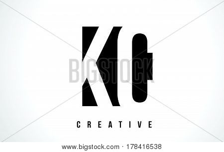 Kc K C White Letter Logo Design With Black Square.