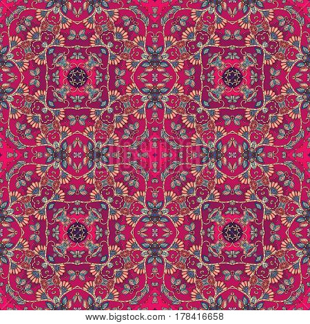 Seamless ornamental pattern in moroccan style. Packaging design. Multicolor illustration in red tones.