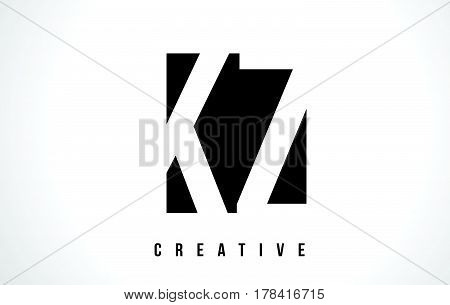 Kz K Z White Letter Logo Design With Black Square.