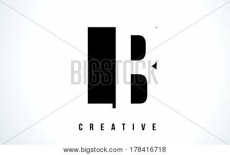 Lb L B White Letter Logo Design With Black Square.