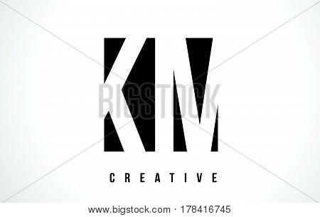 Km K M White Letter Logo Design With Black Square.