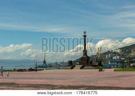 Petropavlovsk-Kamchatsky, Russia - August 18, 2016: Stela City of Military Glory in Petropavlovsk-Kamchatsky.