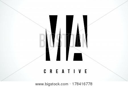 Ma M A White Letter Logo Design With Black Square.