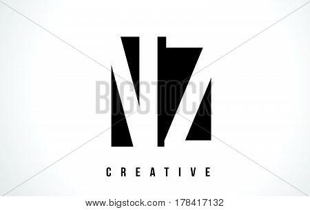 Nz N Z White Letter Logo Design With Black Square.