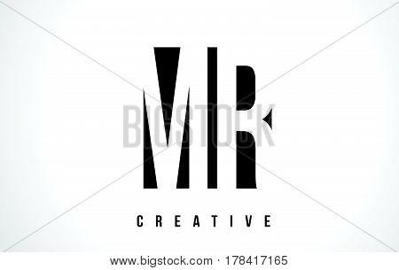 Mr M R White Letter Logo Design With Black Square.