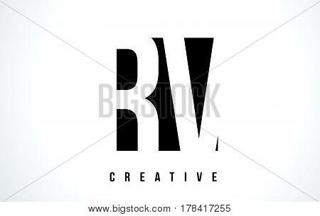 Rv R V White Letter Logo Design With Black Square.