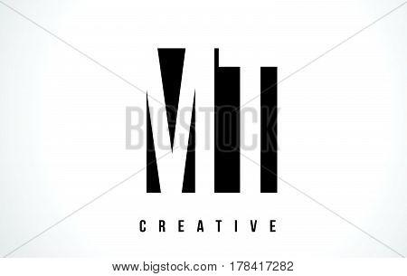Mt M T White Letter Logo Design With Black Square.