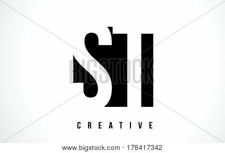 St S T White Letter Logo Design With Black Square.
