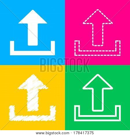 Upload sign illustration. Four styles of icon on four color squares.