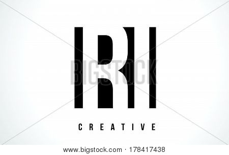 Ri R I White Letter Logo Design With Black Square.