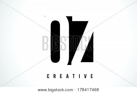 Oz O Z White Letter Logo Design With Black Square.