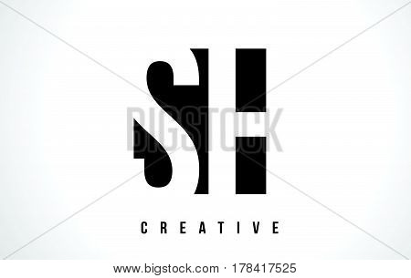Sh S H White Letter Logo Design With Black Square.