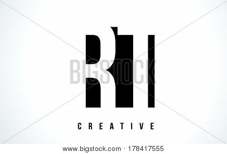 Rt R T White Letter Logo Design With Black Square.