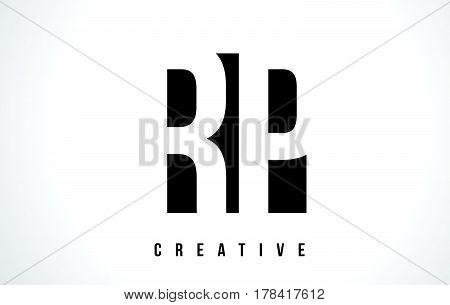 Rp R P White Letter Logo Design With Black Square.