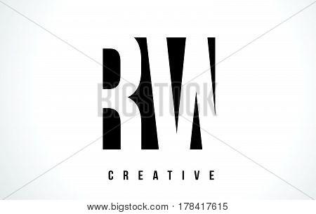 Rw R W White Letter Logo Design With Black Square.