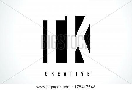 Tk T K White Letter Logo Design With Black Square.