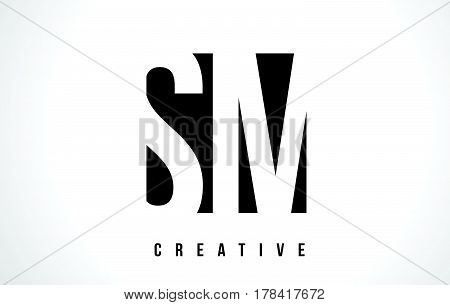 Sm S M White Letter Logo Design With Black Square.