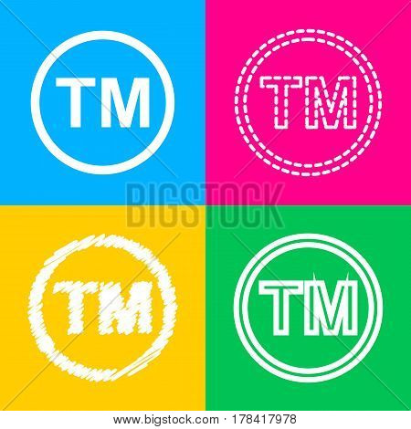 Trade mark sign. Four styles of icon on four color squares.