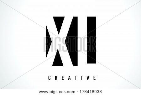 Xl X L White Letter Logo Design With Black Square.