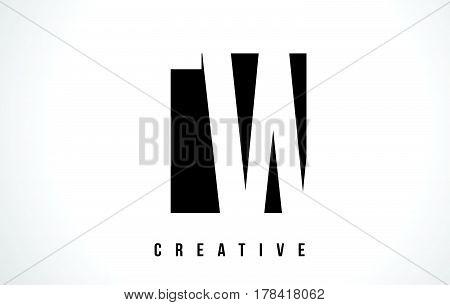 Tw T W White Letter Logo Design With Black Square.