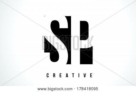 Sp S P White Letter Logo Design With Black Square.