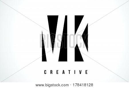 Vk V K White Letter Logo Design With Black Square.
