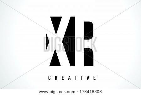 Xr X R White Letter Logo Design With Black Square.
