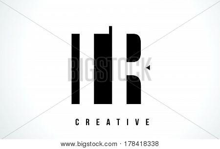 Tr T R White Letter Logo Design With Black Square.