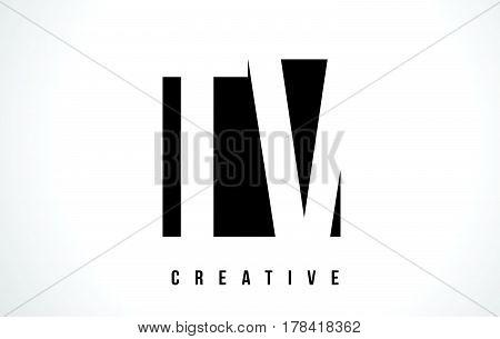 Tv T V White Letter Logo Design With Black Square.