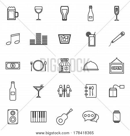 Bar line icons on white background, stock vector