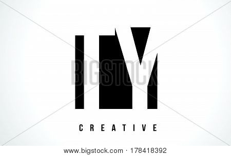 Ty T Y White Letter Logo Design With Black Square.