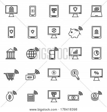 Online banking line icons on white background, stock vector