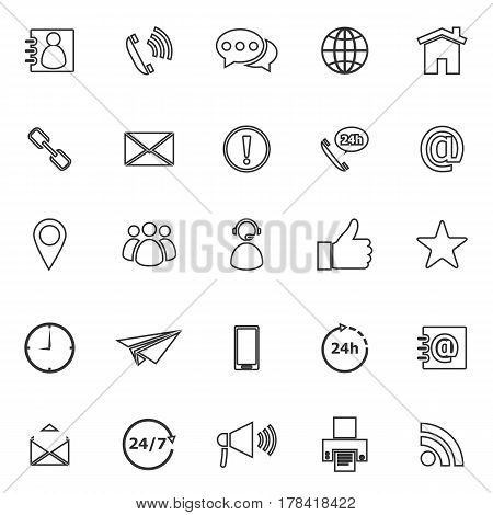 Contact us line icons on white background, stock vector