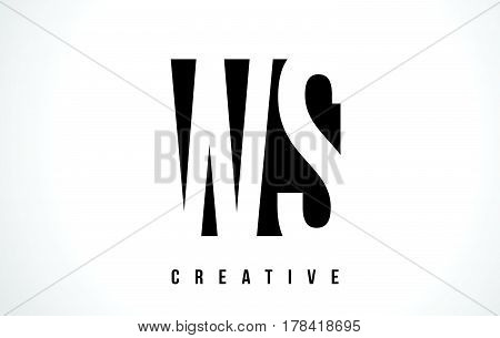 Ws W S White Letter Logo Design With Black Square.