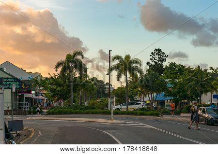 Airlie Beach Main Street, Road At Sunset
