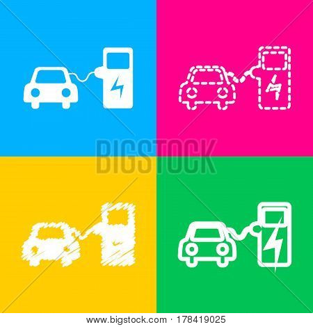 Electric car battery charging sign. Four styles of icon on four color squares.
