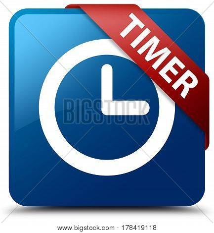 Timer Blue Square Button Red Ribbon In Corner