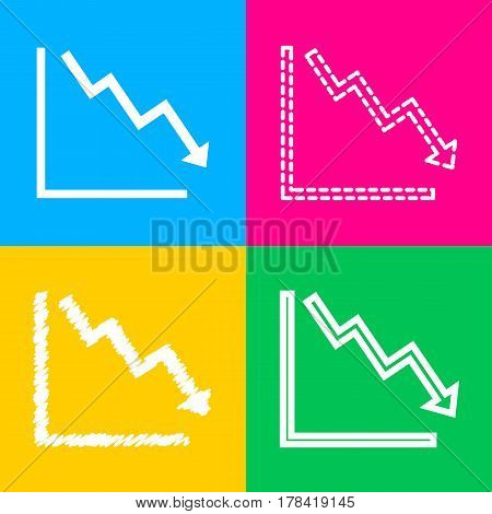 Arrow pointing downwards showing crisis. Four styles of icon on four color squares.