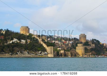 Rumelian Castle Fortress Located On The Bosphorus In Istanbul, Turkey