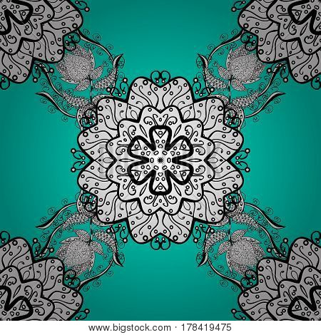 Seamless pattern on blue background with white elements. Traditional orient ornament. Seamless classic vector white pattern. Classic vintage background.