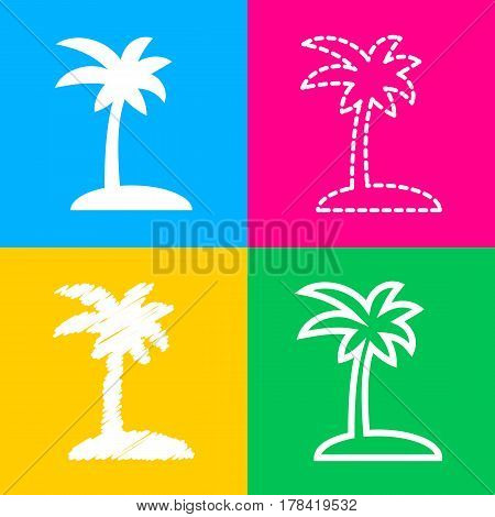 Coconut palm tree sign. Four styles of icon on four color squares.