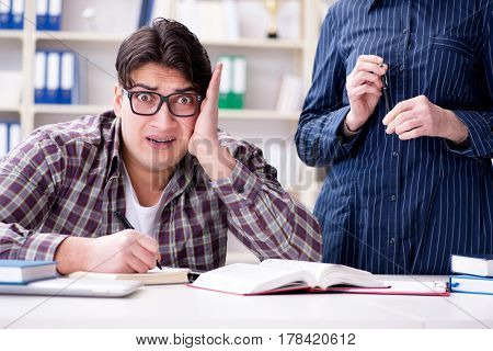 Young student during individual tutoring lesson