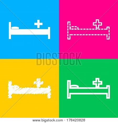 Hospital sign illustration. Four styles of icon on four color squares.
