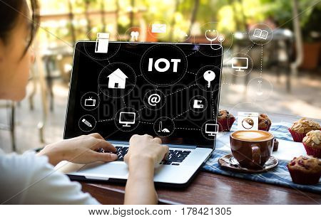 IOT business man hand working and internet of things (IoT) word diagram as concept poster
