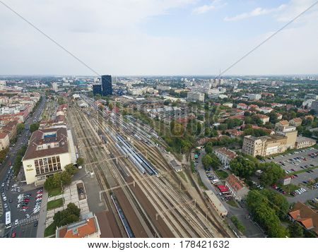 aerial view of main train station in Zagreb, Croatia.