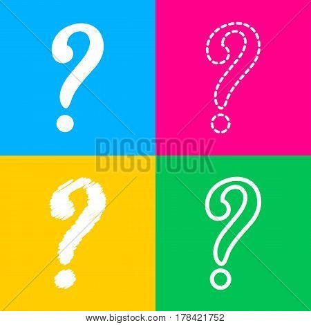 Question mark sign. Four styles of icon on four color squares.