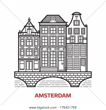 Travel Amsterdam landmark icon. Canal houses is one of the famous architectural symbols and tourist attractions in capital of Netherlands. Thin line Europe Old town home facades vector illustration.