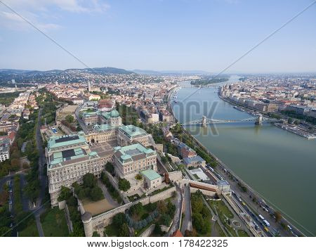 Aerial view of Royal Palace in Budapest, Hungary